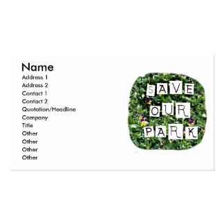 Save Our Park! White block inverted text on flower Business Card