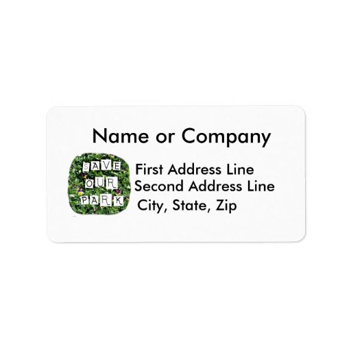 Save Our Park! White block inverted text on flower Personalized Address Labels