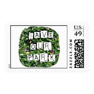 Save Our Park! White block inverted text on flower Postage Stamps