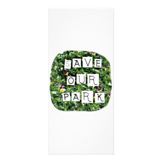 Save Our Park! White block inverted text on flower Rack Card
