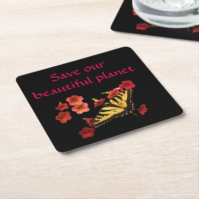 Save Our Planet Butterfly Flowers Coasters