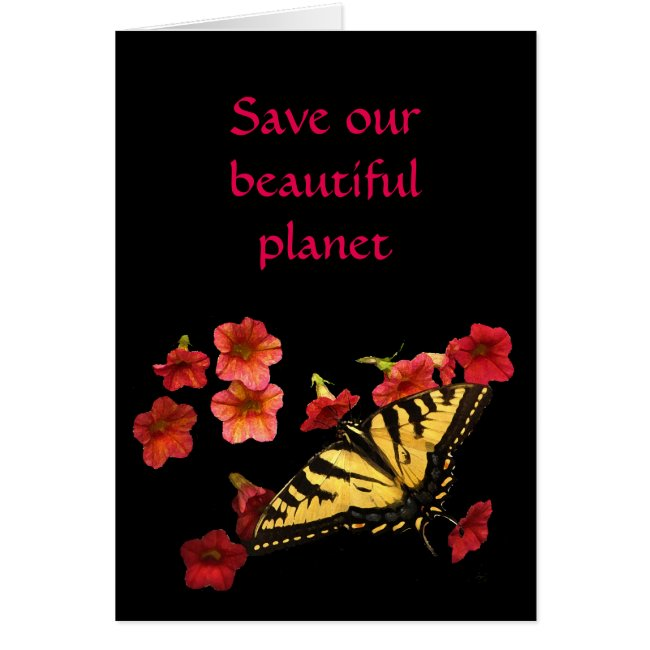 Save Our Planet Butterfly on Flowers Blank Card