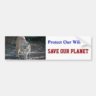 """Save Our Planet"" Cougar Photo Bumper Sticker"
