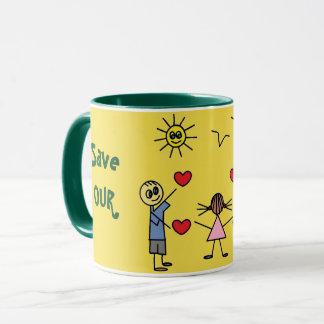 Save OUR planet Earth Colorful Stick Figure Kids Mug