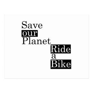 Save our planet, ride a bike postcard