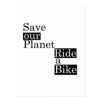 Save our planet, ride a bike postcard
