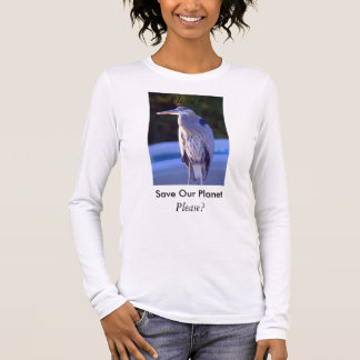 Save Our Planet series Great Blue Heron Long Sleeve T-Shirt