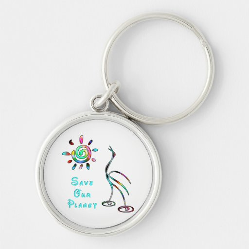 Save Our Planet Silver-Colored Round Keychain