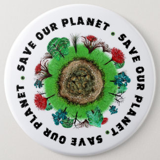 Save Our Planet Slogan and Icon Button