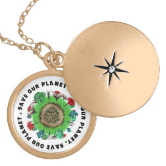 Save Our Planet Slogan and Icon Gold Plated Necklace