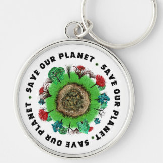 Save Our Planet Slogan and Icon Key Chain