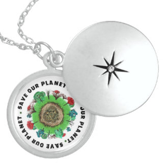 Save Our Planet Slogan and Icon Locket Necklace