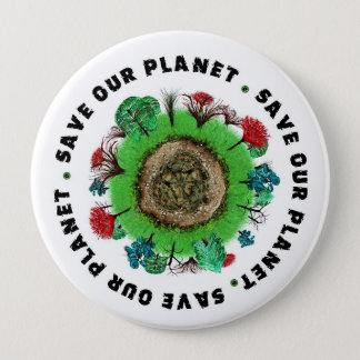 Save Our Planet Slogan and Icon Pinback Button