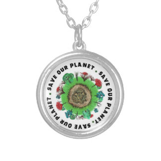 Save Our Planet Slogan and Icon Silver Plated Necklace
