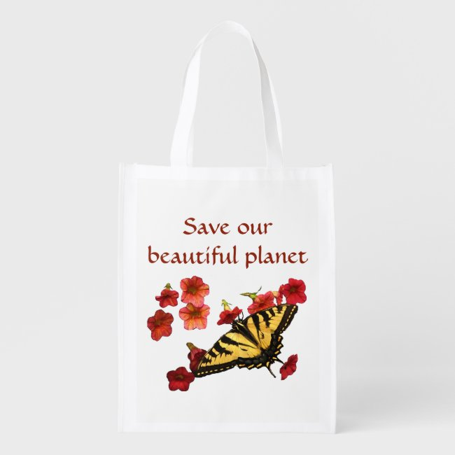 Save Our Planet Yellow Butterfly Red Flowers