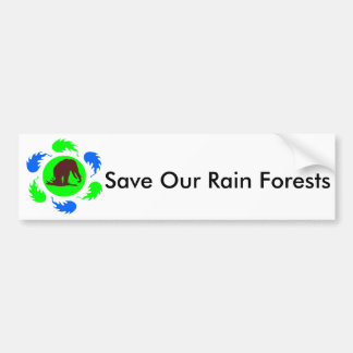 Save Our Rain Forests Elephants Bumper Sticker