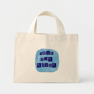 Save our River Blue text on blue background Canvas Bags