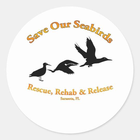 Save Our Sea Birds of Sarasota Florida Classic Round Sticker