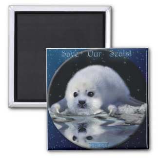 """""""SAVE OUR SEALS!"""" Art Magnet"""