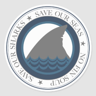 save our sharks classic round sticker