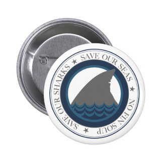 save our sharks pinback button