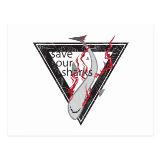 save our sharks SOS floral triangle Postcard