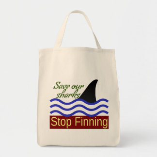 Save Our Sharks, Stop Finning Grocery Tote Bag