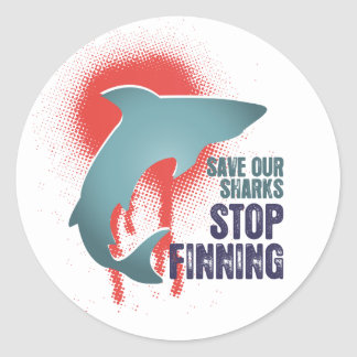 Save Our Sharks Stop Finning Classic Round Sticker