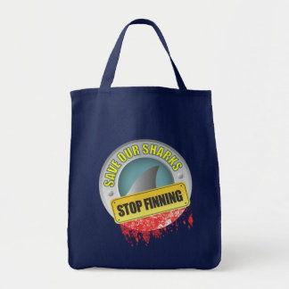 Save Our Sharks Stop Finning Grocery Tote Bag