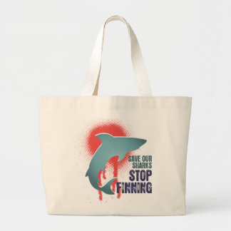 Save Our Sharks Stop Finning Large Tote Bag