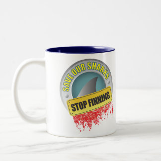 Save Our Sharks Stop Finning Two-Tone Coffee Mug