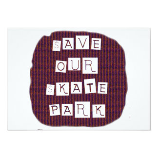Save Our Skate Park! Text against red blue back 5x7 Paper Invitation Card