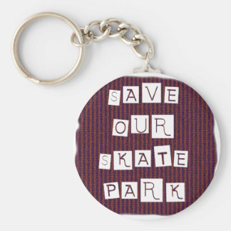 Save Our Skate Park! Text against red blue back Key Chain