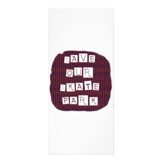 Save Our Skate Park! Text against red blue back Rack Card Design