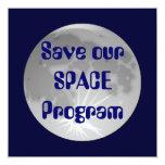 """Save our SPACE Program Invitations 5.25"""" Square Invitation Card"""