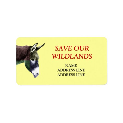 Save Our Wildlands 1 - American Southwest Burro Personalized Address Label