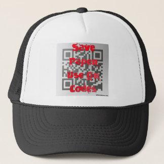 SAVE PAPER, USE QR CODES TRUCKER HAT