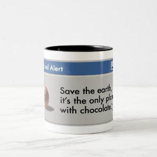 Save Planet Chocolate mug! Two-Tone Coffee Mug