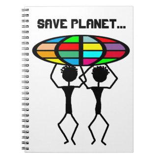 Save planet spiral notebook