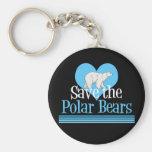 Save Polar Bears Cute Black Blue Keychain