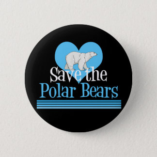 Save Polar Bears Cute Black Blue Pinback Button