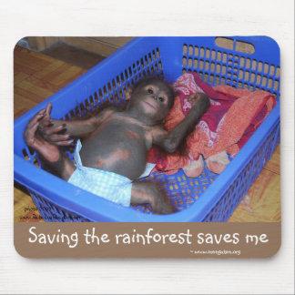 Save rainforest & orangutans mouse pad