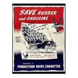 Save Rubber And Gasoline Post Card