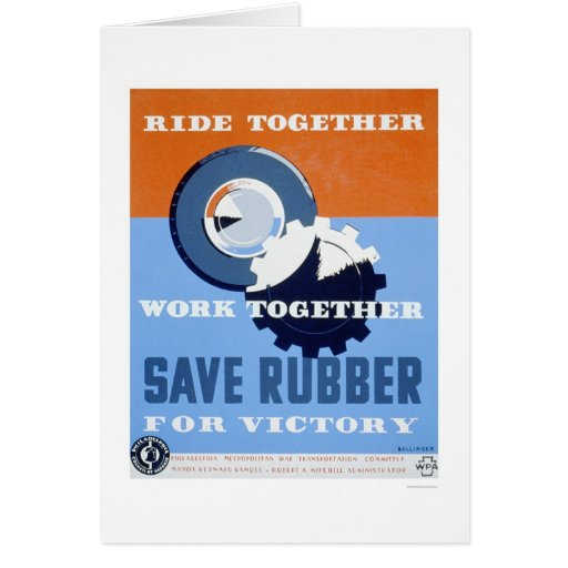 Save Rubber Commute 1943 WPA Greeting Cards