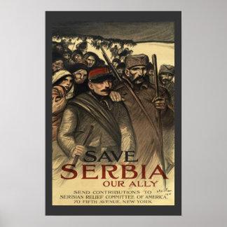 Save Serbia World War One Vintage Poster