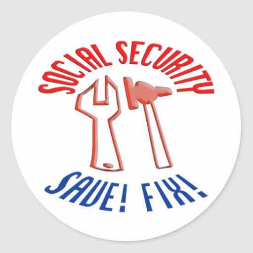 Save Social Security! Personalize Background. Round Stickers