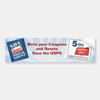 Save the 6 day Post Office Bumper Sticker