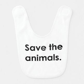 """""""Save the animals."""" baby bib"""