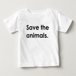 """Save the animals."" baby shirt"