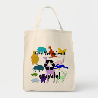 Save the Animals Organic Grocery Tote Bag